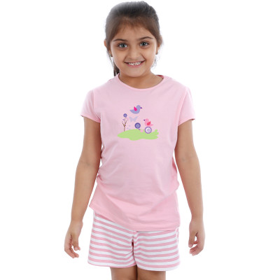 Pink Half sleeve Girls Pyjama -  Happy Birds